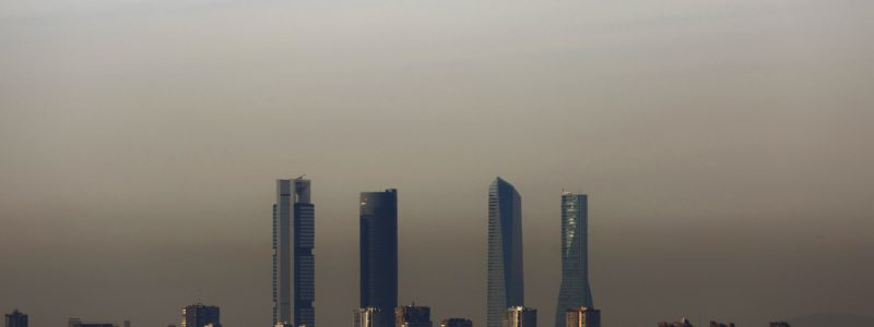 Pollution covers the four towers that mark Madrid's skyline in Madrid, Spain, Friday, Nov. 13, 2015.